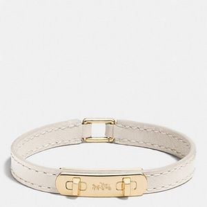 Coach Leather Swagger Bracelet Gold & Chalk NWT